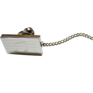 Silver Toned Rectangular Music Note Tie Tack